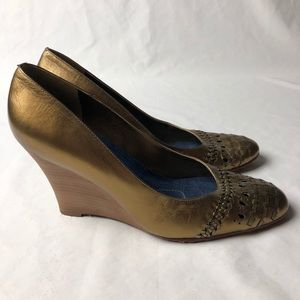3/$15 CARLOS SANTANA Metallic Leather Wedge Heels